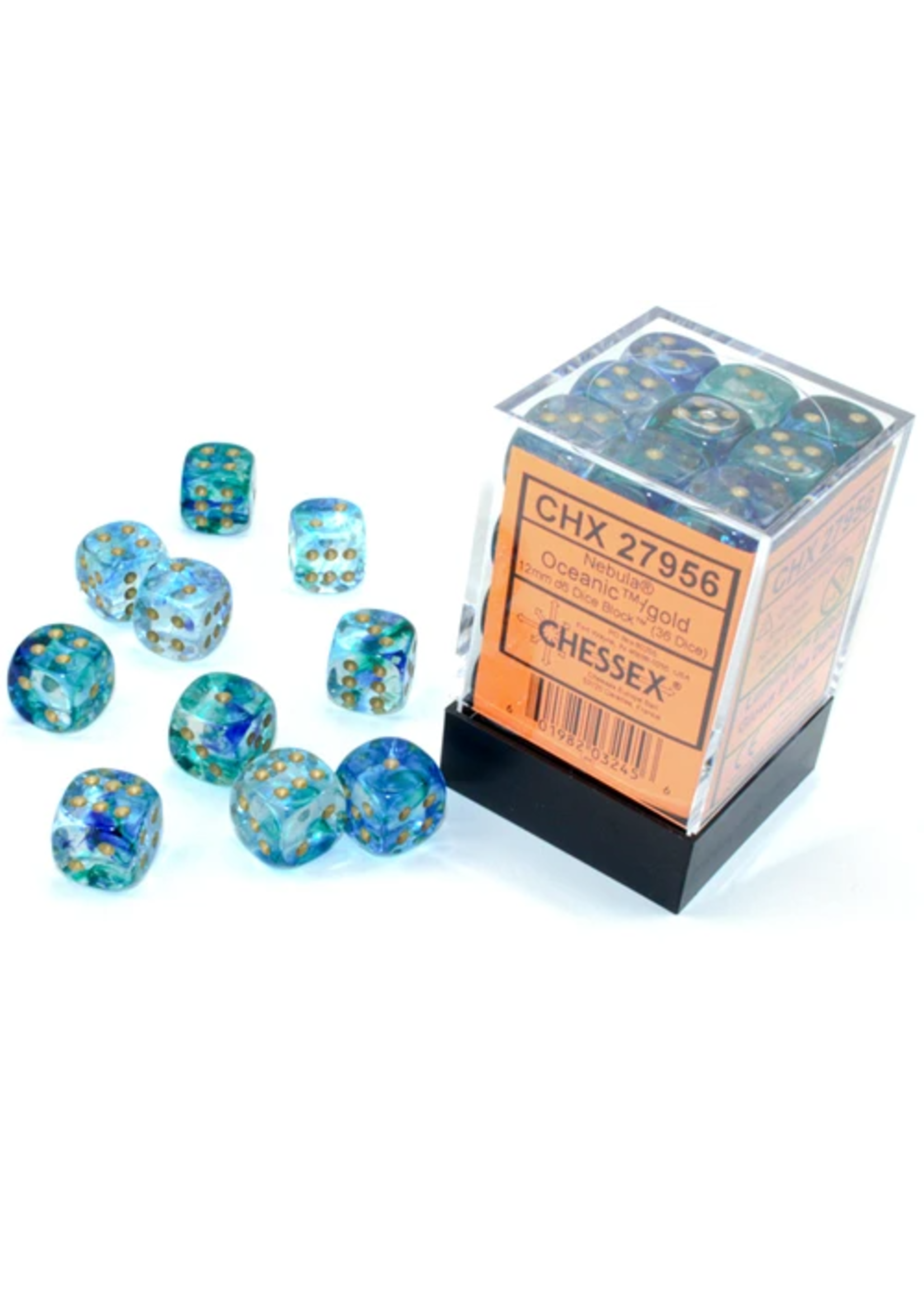 Chessex 12mm d6 Blocks - Nebula TM 12mm d6 Oceanic/gold Luminary Dice Block™ (36 dice)