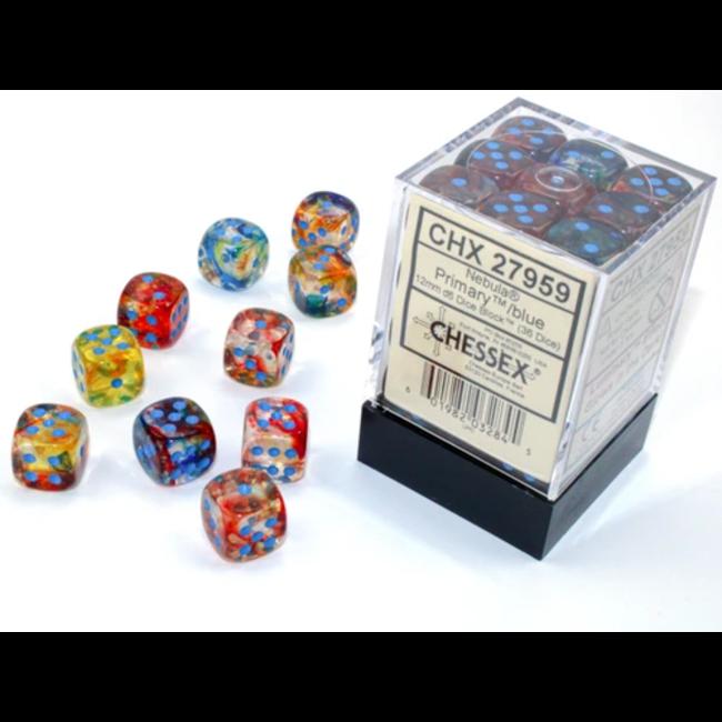 Chessex 12mm d6 Blocks - Nebula TM 12mm d6 Primary/blue Luminary Dice Block™ (36 dice)