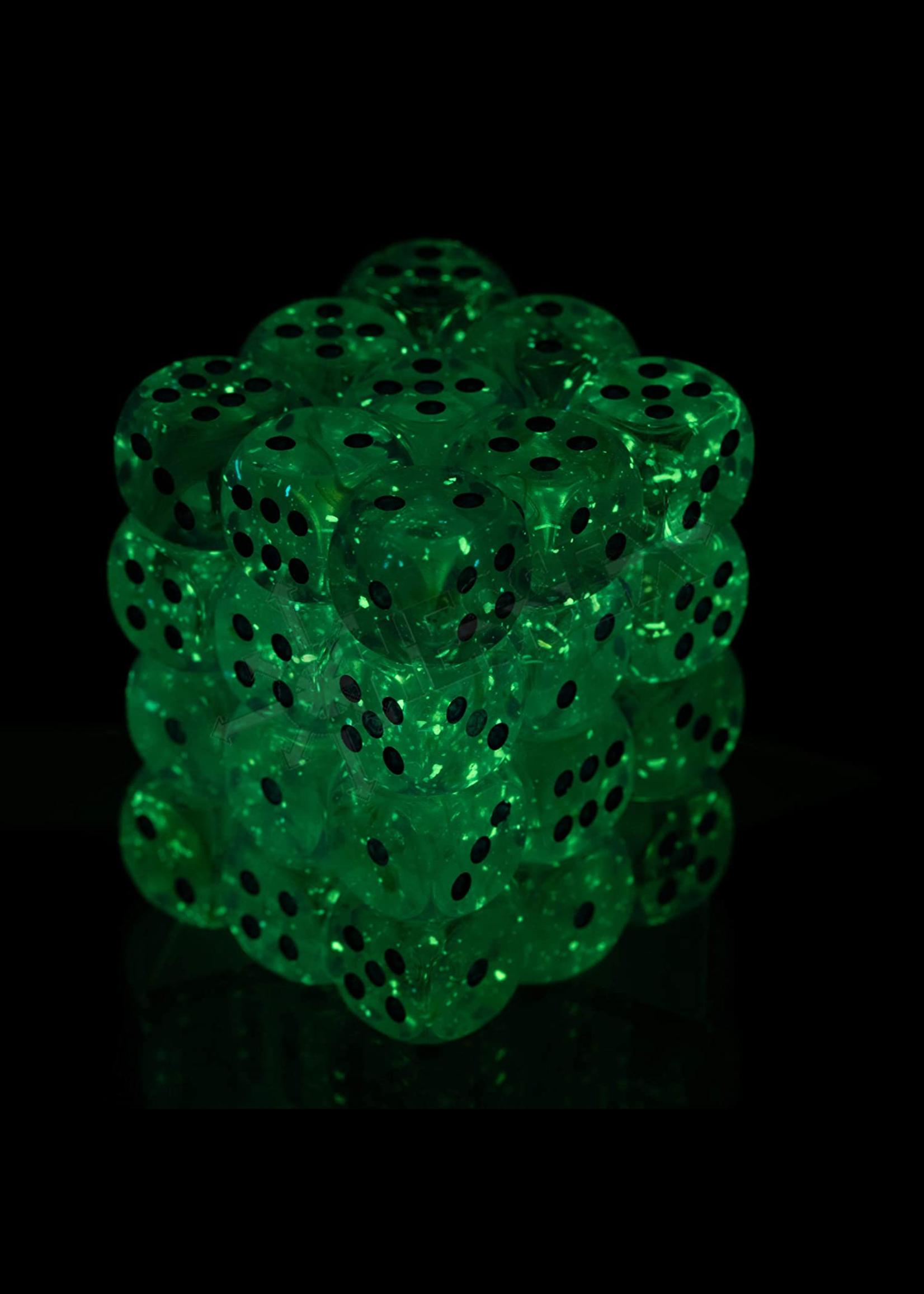 Chessex Borealis 12mm d6 Pink/silver Luminary Dice Block (36 dice)