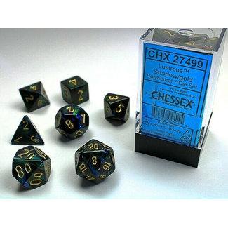 lustrous Shadow/gold Polyhedral 7-Die Set