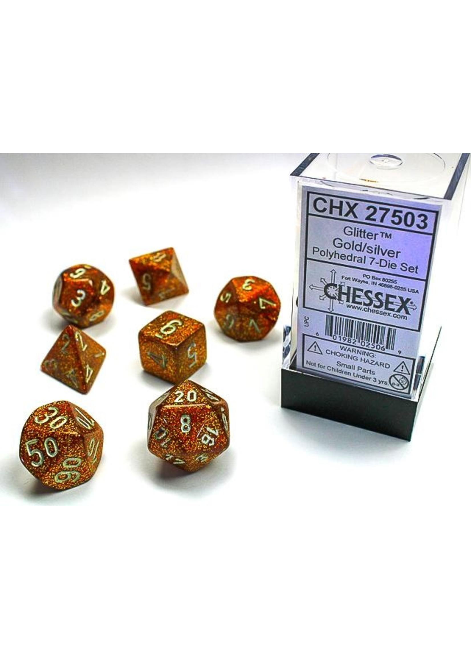Glitter Gold/silver Polyhedral 7-Die Set