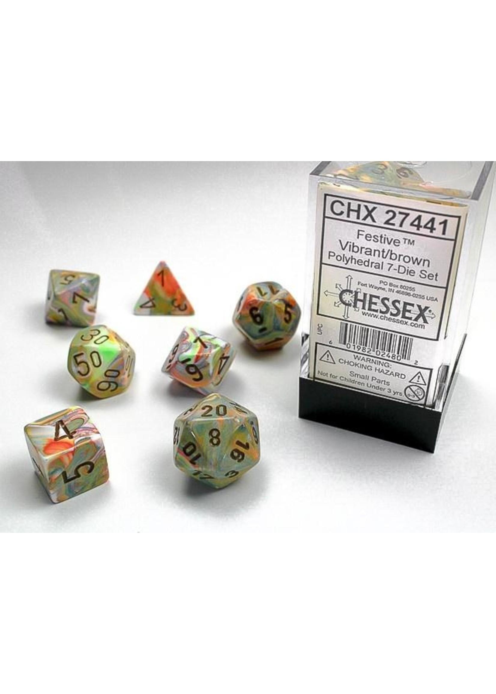 Festive Vibrant/brown Polyhedral 7-Die Set