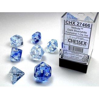 Nebula Dark Blue/white Polyhedral 7 Die Set