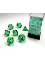 Translucent Green/white Polyhedral 7-Die Set