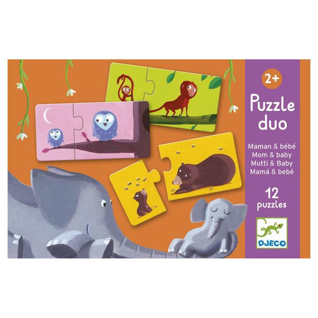 Djeco Puzzle Duo - Mama & baby (12 puzzles)