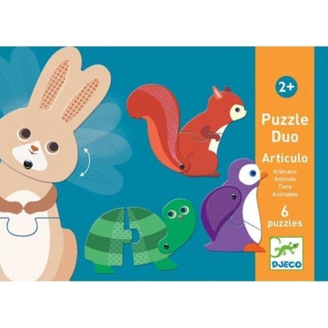 Djeco Puzzle Duo - Dieren (6 puzzles)