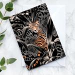 Wenskaart: Monochrome tiger