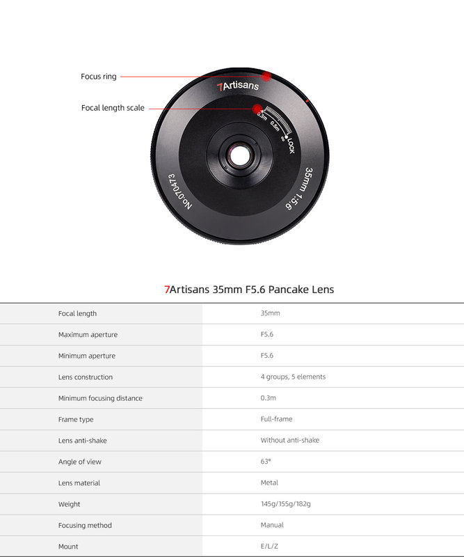 7Artisans 35mm f/5.6 Pancake Lens for Nikon Z