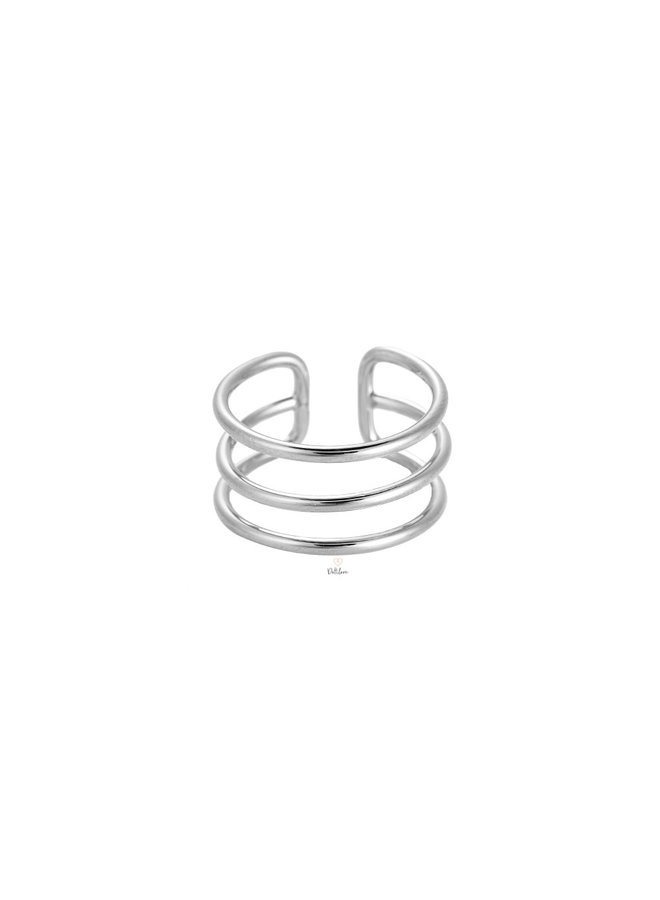 TRIPLE LINES RING - SILVER