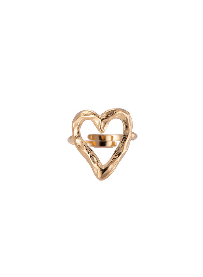 ROUGH HEART RING - GOLD