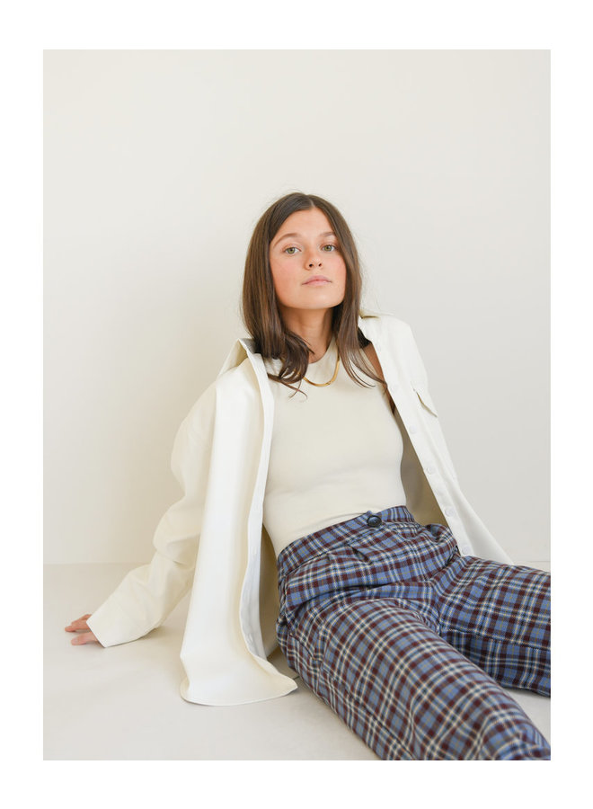 LILY CHECKERED TROUSERS BLUE
