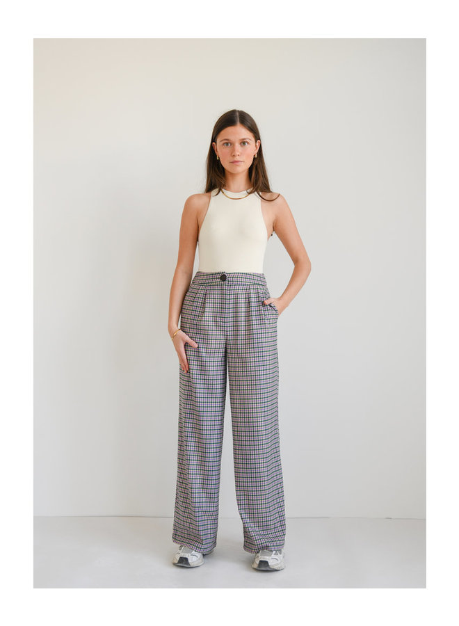 LILY CHECKERED TROUSERS GREEN/ PURPLE