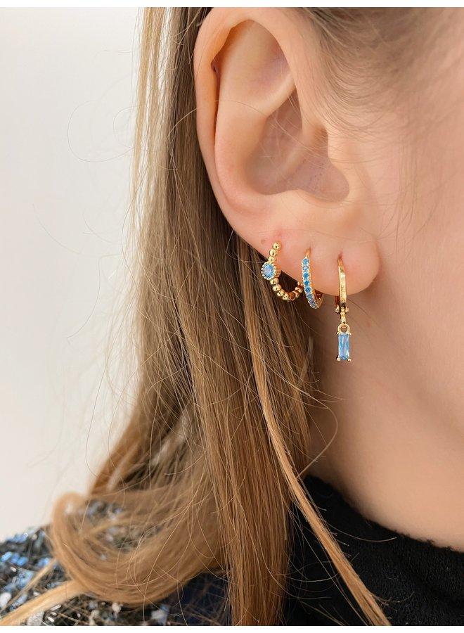 SHINING SPOT PLATED EARRING - BLUE