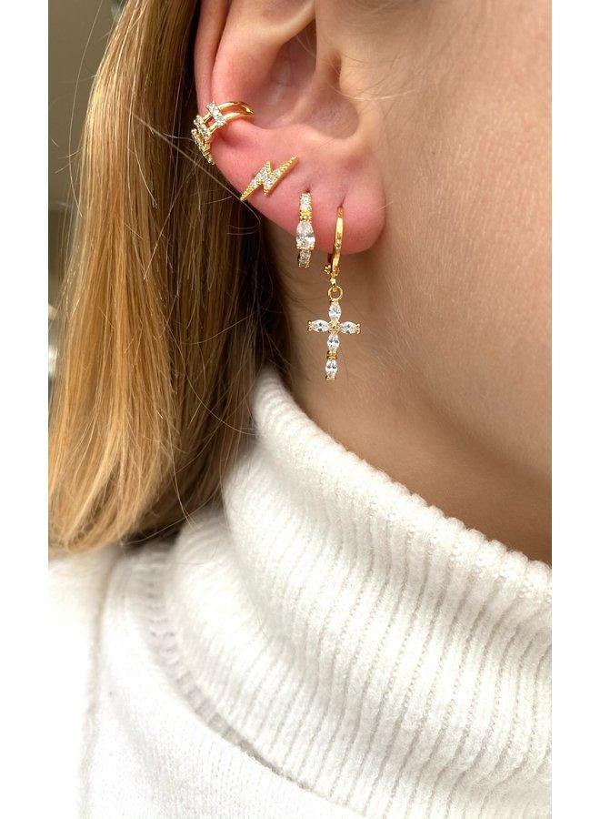 CRYSTAL CROSS PLATED EARRING