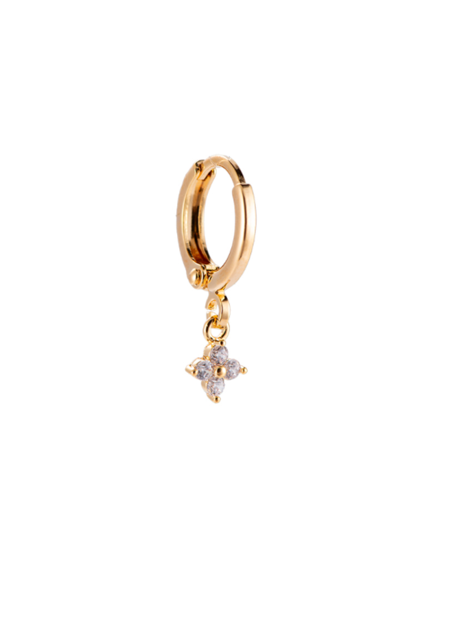 TINY FLOWER PLATED EARRING - GOLD