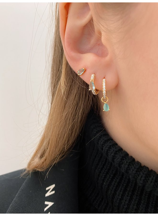 REAGAN GOLD-PLATED STUD EARRINGS - BLUE