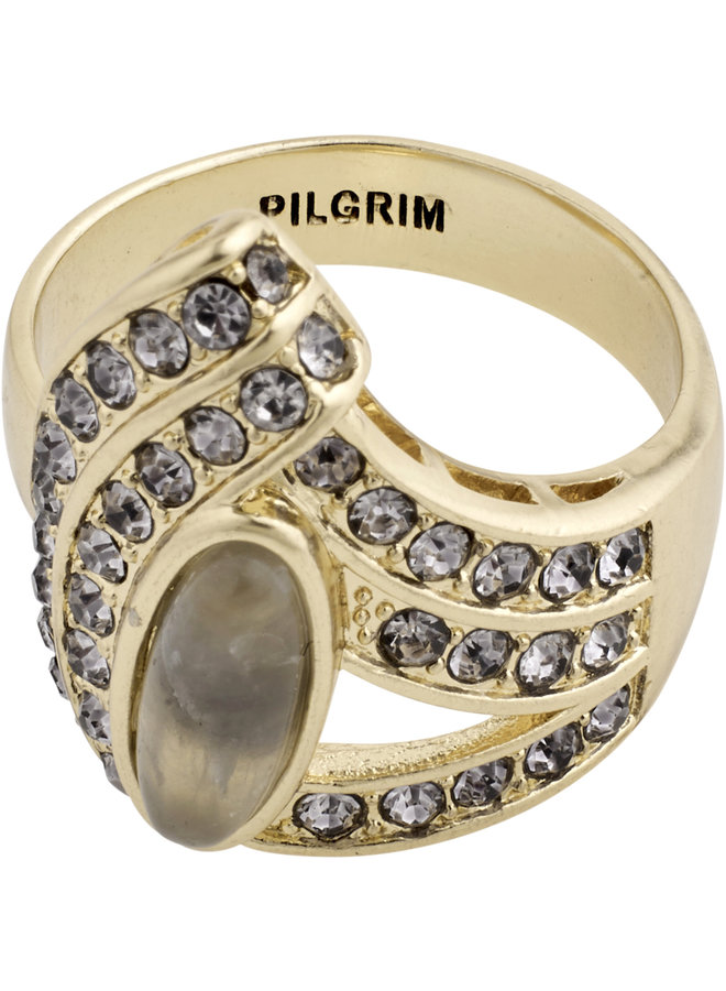 RING DELISE GOLD PLATED GREY