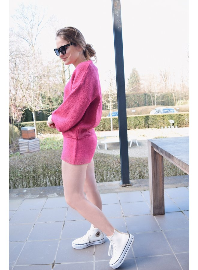 KNITTED SHORT PINK