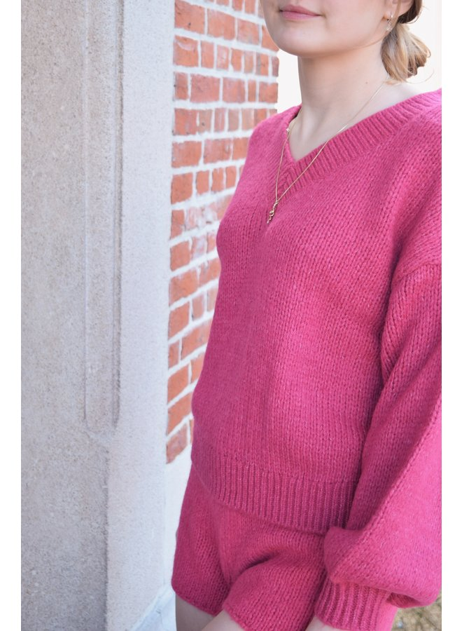 V-NECK KNITTED SWEATER PINK