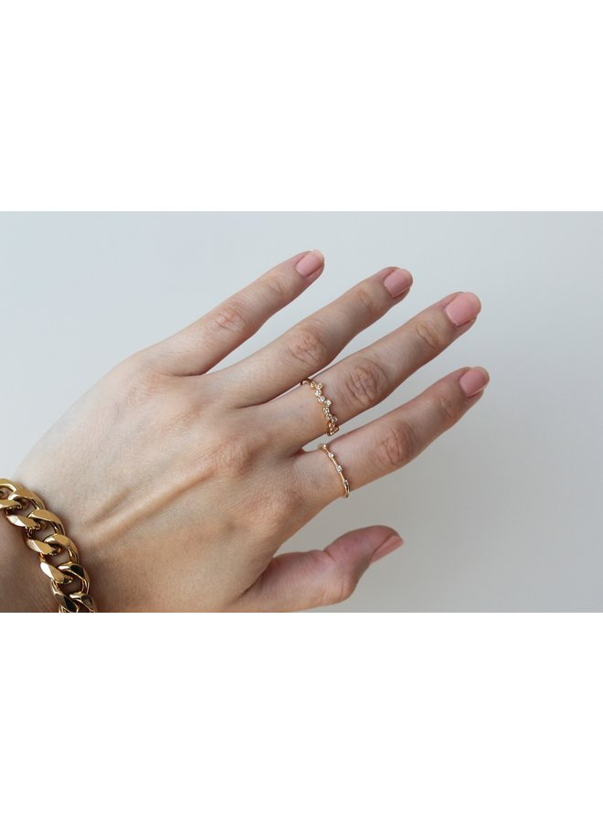 15 DIAMONDS PLATED RING - GOLD