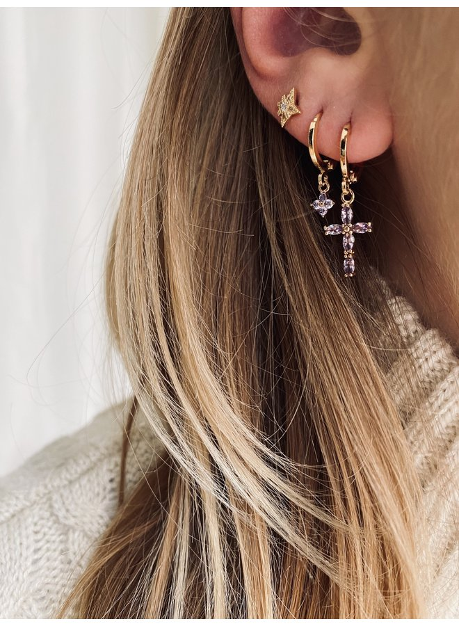 CRYSTAL CROSS PLATED EARRING - LILAC