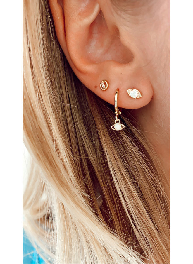 EYES PLATED STUD EARRING - GOLD