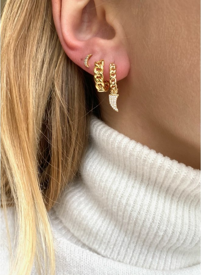 CHAIN HOOP STAINLESS STEEL EARRING - GOLD