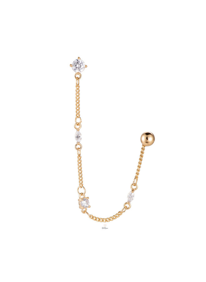 CHAIN CUBE PLATED HOOP - GOLD