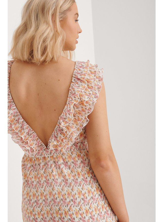 V-NECK FLOUNCE DETAIL DRESS