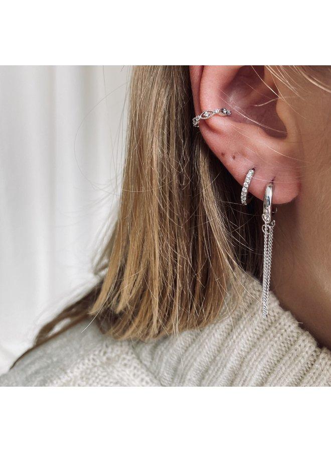 SHINING HOOP PLATED EARRING - SILVER