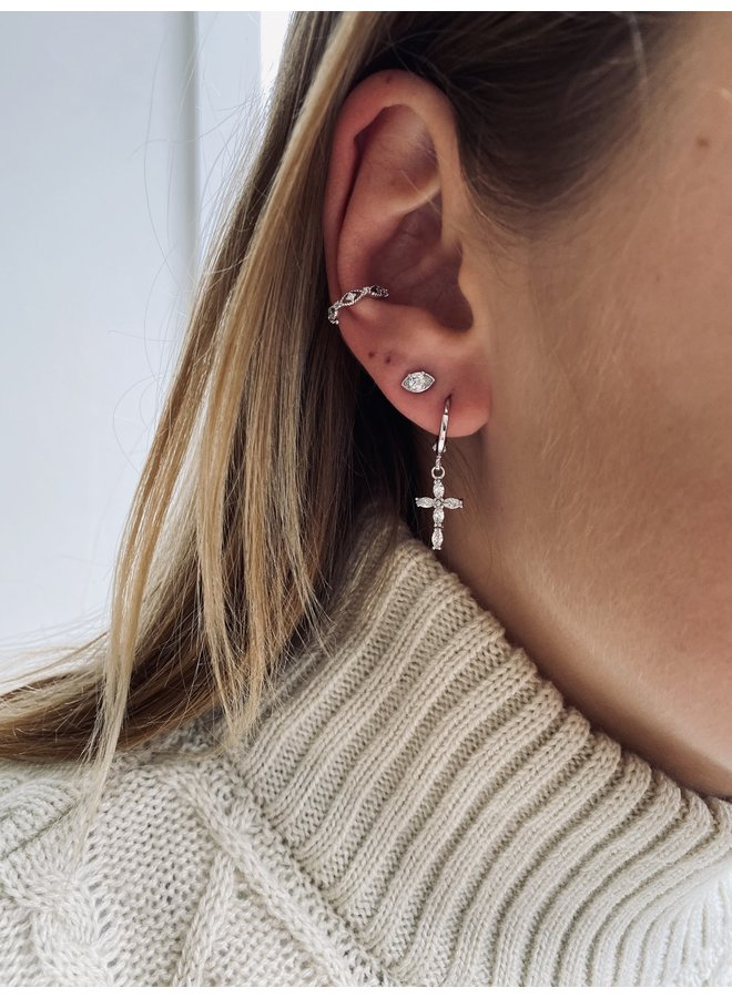 CRYSTAL CROSS PLATED EARRING - SILVER