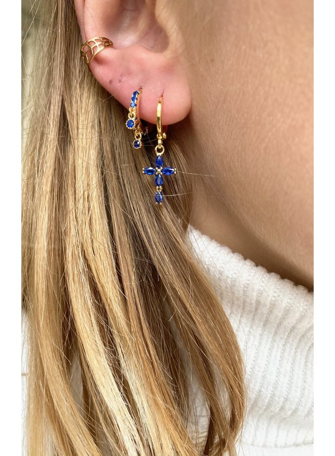 CRYSTAL CROSS PLATED EARRING - BLUE