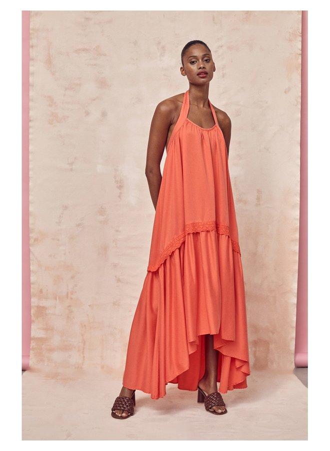 NURIA LONG DRESS - CORAL
