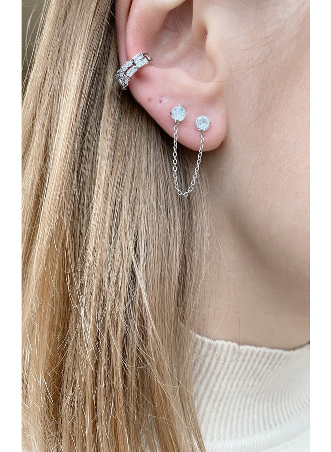 DOUBLE  PLATED EARRING - SILVER