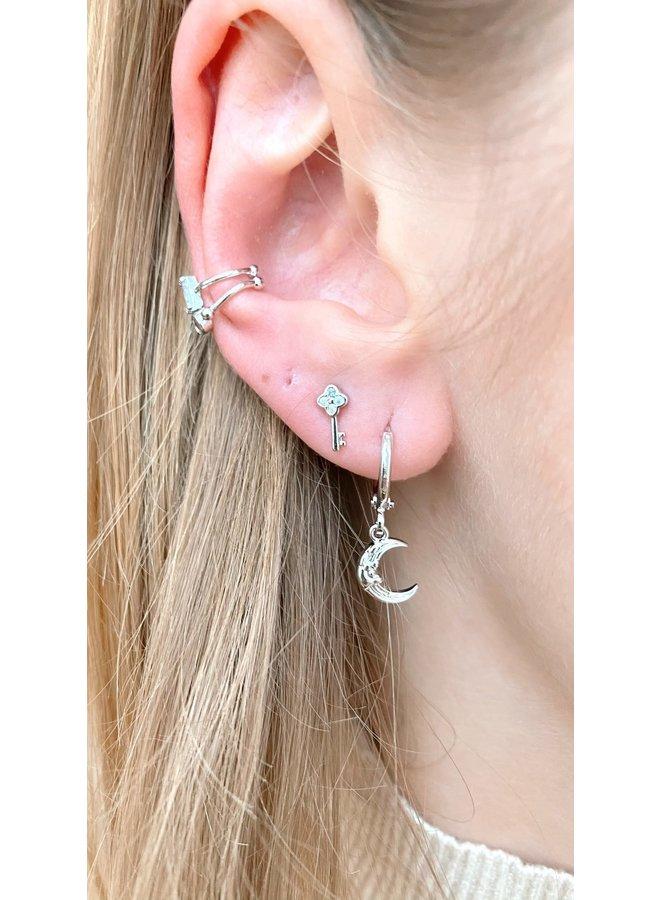 SILVER MOON PLATED EARRINGS