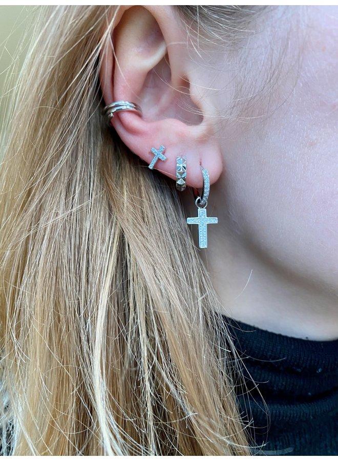 EDGY CRYSTAL CROSS EARRING - SILVER