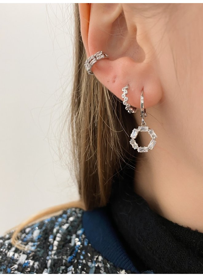 CRYSTAL LOVE PLATED EARRING - SILVER