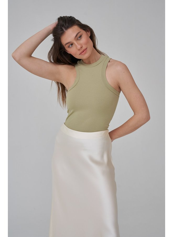 HIGH NECK RIBBED TOP - GREEN