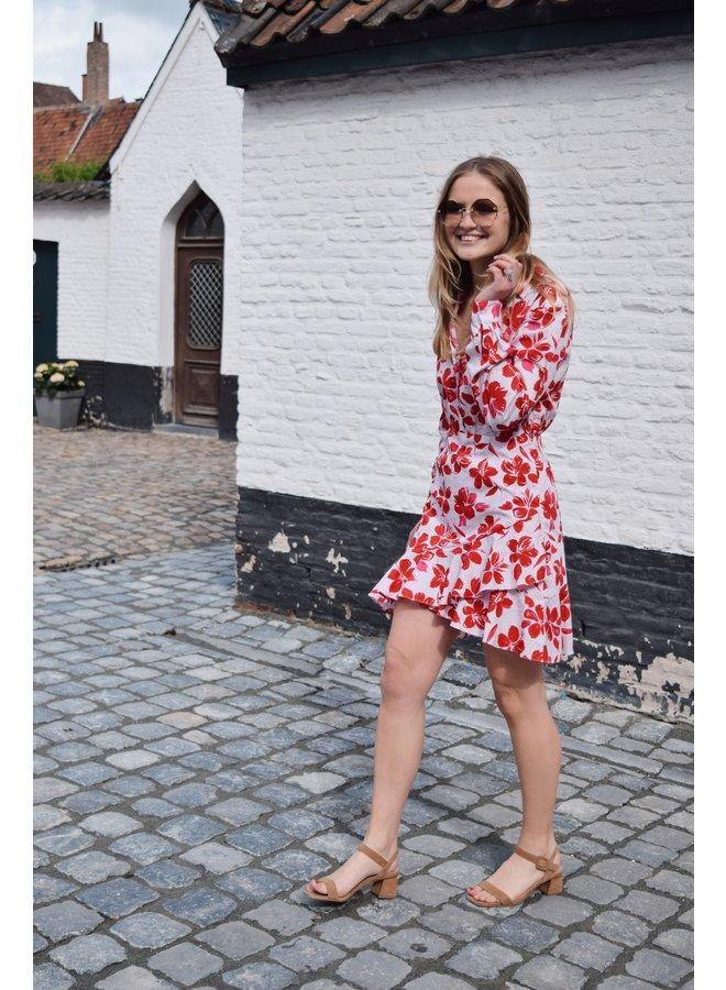 SHIRT FLOUNCE DRESS - RED FLOWER