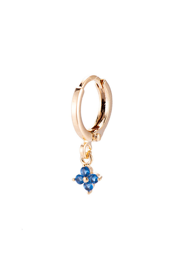 TINY FLOWER PLATED EARRING - BLUE