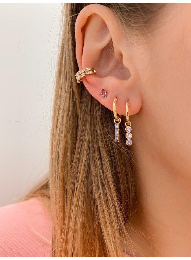 TRIPLE CUBE EARRING - LILAC