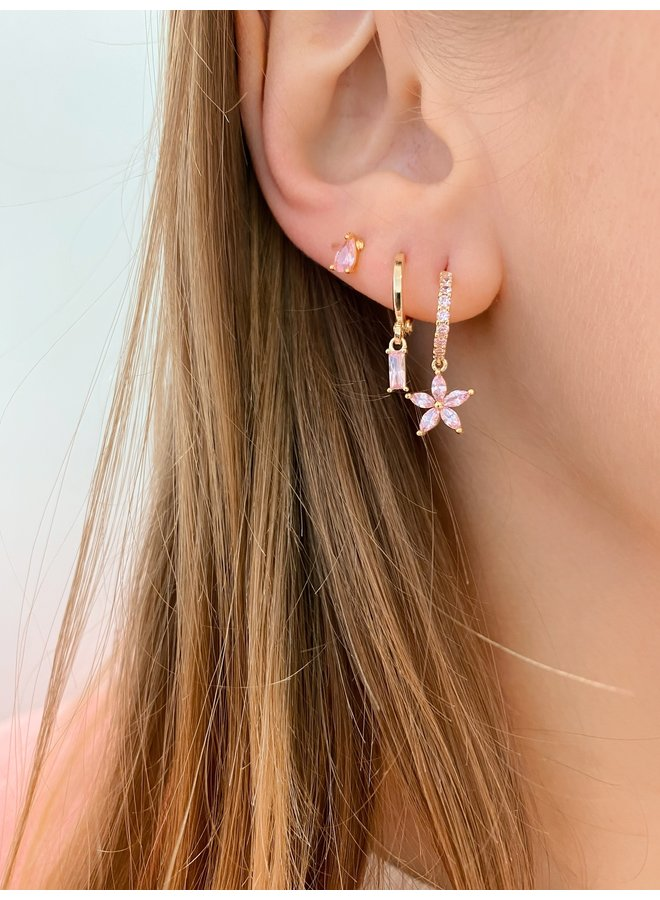 BIG CUBE PLATED EARRING - PINK
