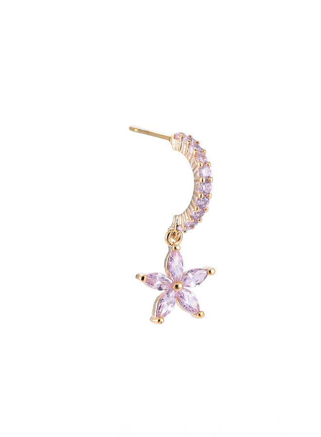 FLOWER HOOP EARRING -PINK