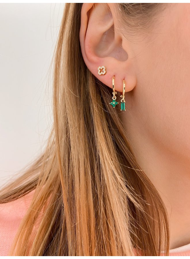 CUBE PLATED EARRING - GREEN