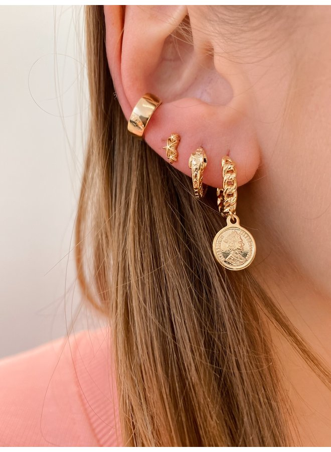 ROUND SNAKE GOLD PLATED EARRING