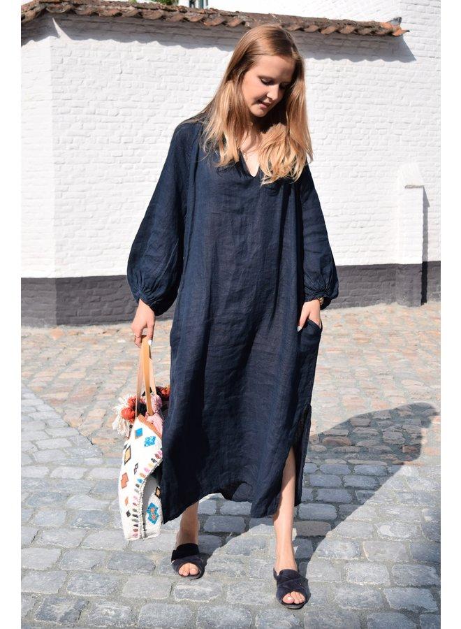 CECILE LINEN DRESS DARK BLUE