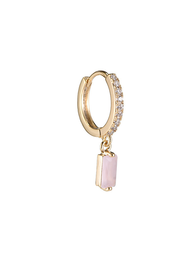 SHINING CUBE PLATED EARRING - LIGHT PINK