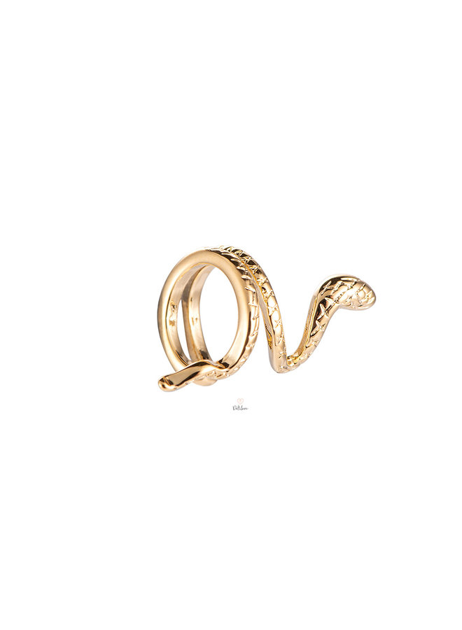 TWIRLING SNAKE PLATED EARCUF - GOLD