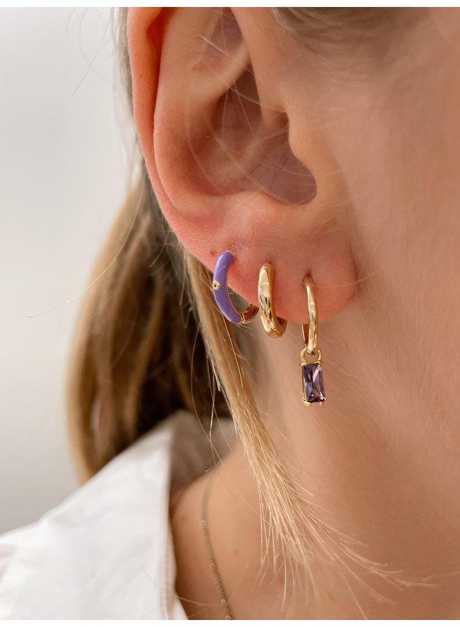 SLIDING CUBE EARRING - LILAC