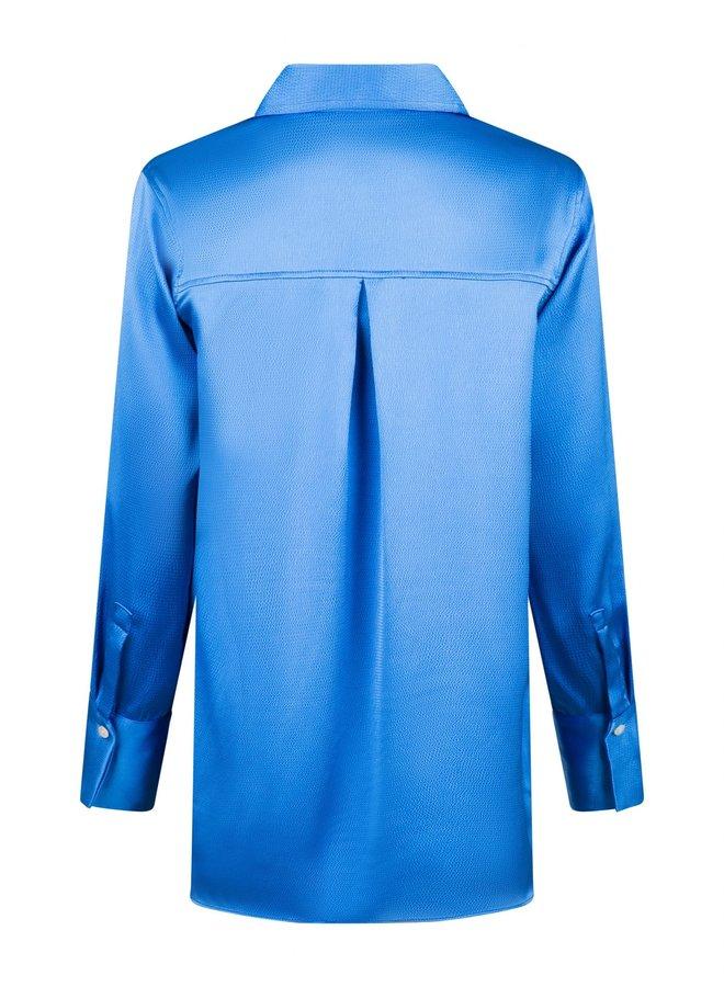 MARGRIT CREPE SATIN SHIRT BLUE